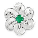 Created Emerald Flower Chain Slide Sterling Silver Small MPN: QSK1700 UPC: 886774640174 by Stackable Expressions