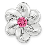 Created Pink Sapphire Flower Chain Slide Sterling Silver Small MPN: QSK1705 UPC: 886774640211 by Stackable Expressions
