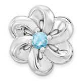 Polished Blue Topaz Flower Chain Slide Sterling Silver Small MPN: QSK1707 UPC: 886774640235 by Stackable Expressions