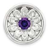 Amethyst Flower Chain Slide Sterling Silver Small MPN: QSK1709 UPC: 886774640259 by Stackable Expressions