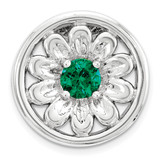 Created Emerald Flower Chain Slide Sterling Silver Small MPN: QSK1712 UPC: 886774640280 by Stackable Expressions