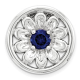 Created Sapphire Flower Chain Slide Sterling Silver Small MPN: QSK1716 UPC: 886774640327 by Stackable Expressions
