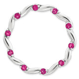 Polished Created Ruby Chain Slide Sterling Silver Large MPN: QSK1804 UPC: 191101476631 by Stackable Expressions