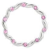 Created Pink Sapphire Chain Slide Sterling Silver Large MPN: QSK1807 UPC: 191101551048 by Stackable Expressions