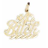 #1 Bitch Pendant Necklace Charm Bracelet in Gold or Silver MPN: DZ-10654 UPC: 673681050970