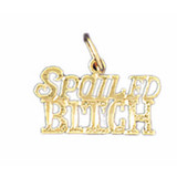 Spoiled Bitch Pendant Necklace Charm Bracelet in Gold or Silver MPN: DZ-10658 UPC: 673681051014