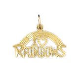 I Love Rainbows Pendant Necklace Charm Bracelet in Gold or Silver MPN: DZ-10781 UPC: 673681052226