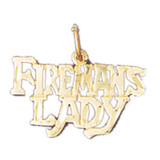 Firemans Lady Pendant Necklace Charm Bracelet in Gold or Silver MPN: DZ-10877 UPC: 673681053155