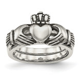 Love, Loyalty, Friendship Claddagh Double Hinged Ring Stainless Steel MPN: SR462 UPC: 886774436401