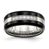 Black Ceramic CZ Beveled Edge Ring Stainless Steel Polished MPN: SR563 UPC: 191101853029