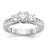 3-Stone Diamond Semi-Mount Engagement Ring 14k White Gold MPN: RM2980E-050-WAA