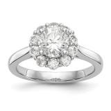 Round Halo Engagement Diamond Semi-mount Ring 14k White Gold MPN: RM2033E-100-WAA