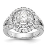 Round Diamond Semi-Mount Double Halo Engagement Ring 14k White Gold MPN: RM2143E-100-WAA