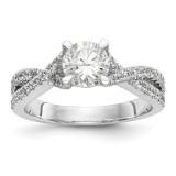 Diamond Round Semi-mount By-Pass Engagement Ring 14k White Gold MPN: RM2515E-075-WAA