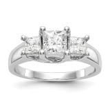 3-Stone Diamond Semi-Mount Engagement Ring 14k White Gold MPN: RM2995E-075-WAA