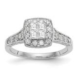Complete Diamond Cluster Engagement Ring 14k White Gold MPN: RM2371E-080-WAA