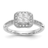 Complete Diamond Cluster Engagement Ring 14k White Gold MPN: RM2373E-060-WAA