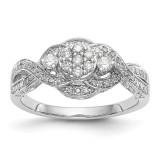 Complete Diamond Cluster Engagement Ring 14k White Gold MPN: RM2360E-040-WAA