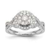 Complete Diamond Cluster Engagement Ring 14k White Gold MPN: RM2393E-080-WAA