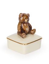 Jay Strongwater Roman Teddy Bear Porcelain Box Natural SDH7372-280