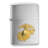 Zippo U.S. Marines Emblem Brushed Chrome Lighter GL1073 UPC: 41689105006