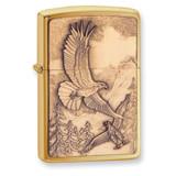 Zippo Where Eagles Dare Emblem Brushed Brass Lighter GL8399 UPC: 41689208547