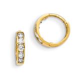 CZ Children'S Hinged Hoop Earrings 14k Gold GK649 UPC: 886774342726
