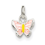 Children'S Pink/Yellow Enameled Butterfly Pendant Sterling Silver QP4063 UPC: 191101470486