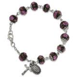 Silver-Tone Handpainted Black Beads Rosary Bracelet GM13494 UPC: 886083203299