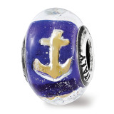 Reflections Foil Anchor Blue Italian Glass Bead Sterling Silver QRS3736