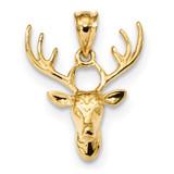 Polished Deer Head Pendant 14k Gold K5999