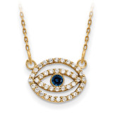 Small Diamond and Sapphire Gold Halo Evil Eye Necklace 14k Gold XP5036S/A UPC: 191101887376