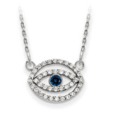 Small Diamond and Sapphire Gold Halo Evil Eye Necklace 14k White Gold XP5036WS/A UPC: 191101887369