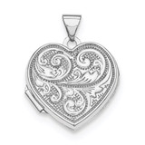 18Mm Heart with Scrolls Locket Sterling Silver Rhodium-plated QLS597 UPC: 191101192418