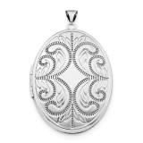 Oval Scroll 6-Frame Locket Sterling Silver Rhodium-plated QLS617 UPC: 886774639208