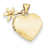 15Mm Heart with Flower Dangle Locket 14k Gold XL626 UPC: 883957145198