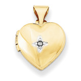 12Mm Heart with Diamond Locket 14k Gold XL636 UPC: 191101192289