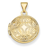 16Mm Round Locket with Scroll Design 14k Gold XL642 UPC: 191101191084