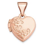 10Mm Floral Heart Locket 14k Rose Gold XL655 UPC: 883957144528