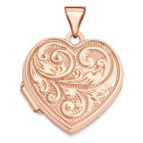 18Mm Scrolled Love You Always Heart Locket 14k Rose Gold XL664 UPC: 883957144566