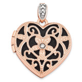 18Mm Vintage Heart with Diamond Blk Interior Locket 14k Rose Gold XL665 UPC: 191101192067