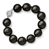 14-15Mm Coin Black Shell Bead with CZ Clasp Bracelet Sterling Silver QMJBC14B-7.5 UPC: 886774293516