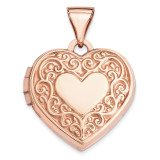 15Mm Scroll Heart Locket 14k Rose Gold XL657 UPC: 883957144498