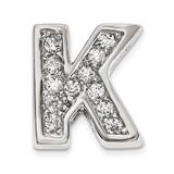 CZ Letter K Slide Charm Sterling Silver Rhodium-plated QC9010K UPC: 886774648972