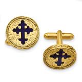 Blue Enameled Cross Cufflinks 14k Gold-plated RF554 UPC: 716806175017