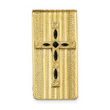 Black Enameled Cross Money Clip 14k Gold-plated RF560 UPC: 716806174995
