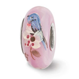 Pink Hand Painted Bird Dogwood Fenton Glass Bead Sterling Silver QRS3584 UPC: 19727632180