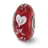 Red Hand Painted Hearts Desire Fenton Glass Bead Sterling Silver QRS3598 UPC: 19727653635