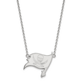 Tampa Bay Buccaneers Large Pendant with Necklace - 10k White Gold 1W012BUC-18
