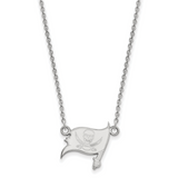 Tampa Bay Buccaneers Small Pendant with Necklace - 14k White Gold 4W011BUC-18